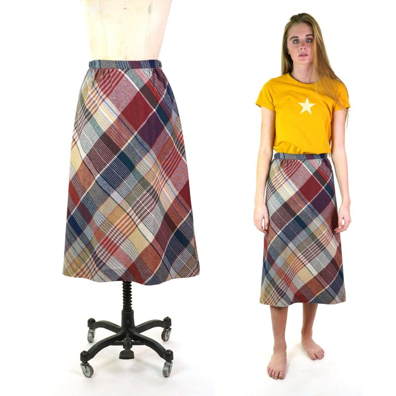 70s Plaid Wool Skirt