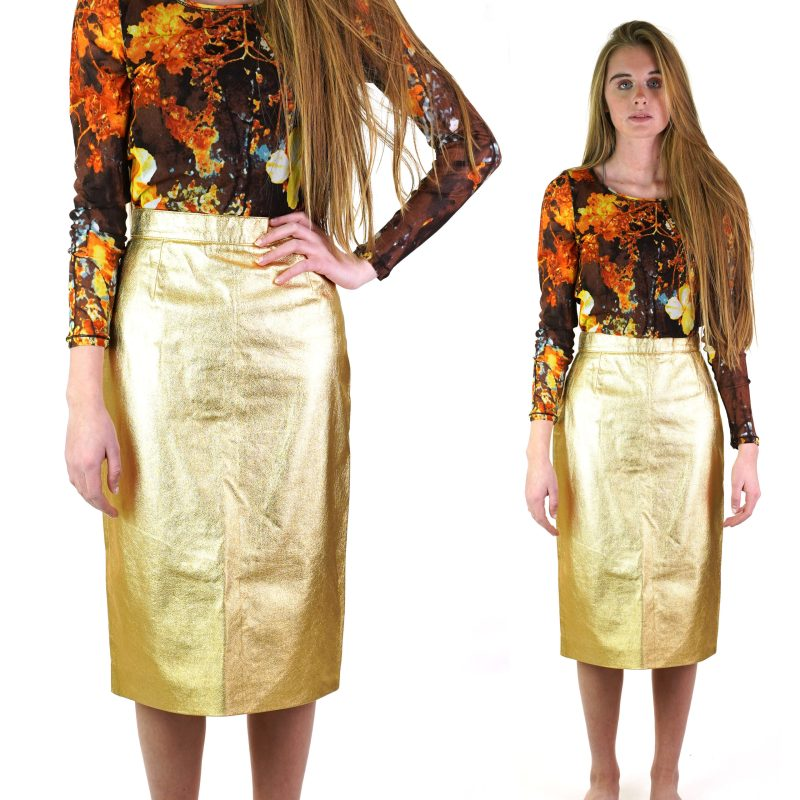 Gold Metallic Leather Skirt Vintage 70s From Paris