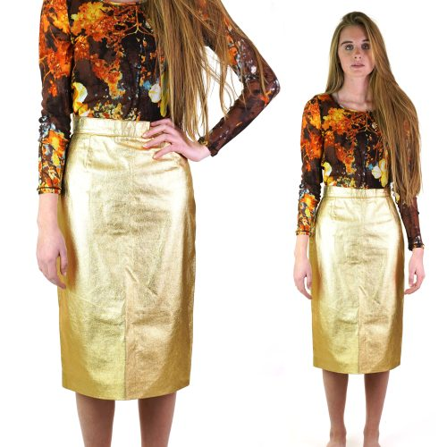 Vintage 70s French Metallic Gold Leather Pencil Skirt Women's Size Small