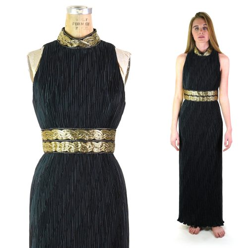 Vintage 80s Pleated Grecian Goddess Maxi Length Party Dress Women's Size Extra Small