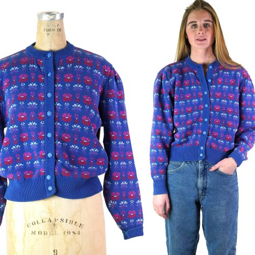 Vintage 80s British Cotton Cardigan Sweater Women's Size Large