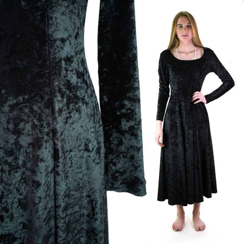 Vintage 90s Stretchy Crushed Velvet Maxi Dress Women's Medium