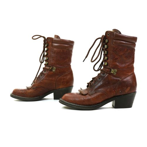 Vintage Double H Brown Leather Lace Up Ankle Boots Size 6.5