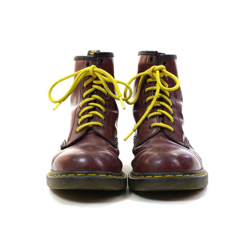 Dr Marten Burgundy Leather Lace Up Ankle Boots UK Size 8 US Men's 9 Women's 10