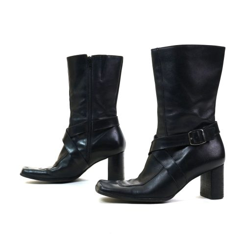 Nine West Black Leather Block Heel Boots with Square Toes Women's Size 8