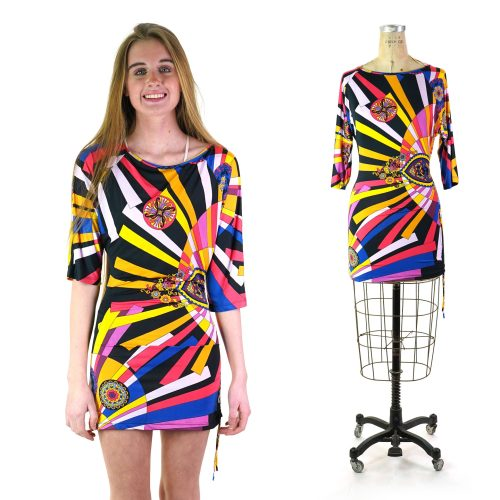 Vintage 90s Psychedelic Novelty Print Mini Dress Women's Size Small