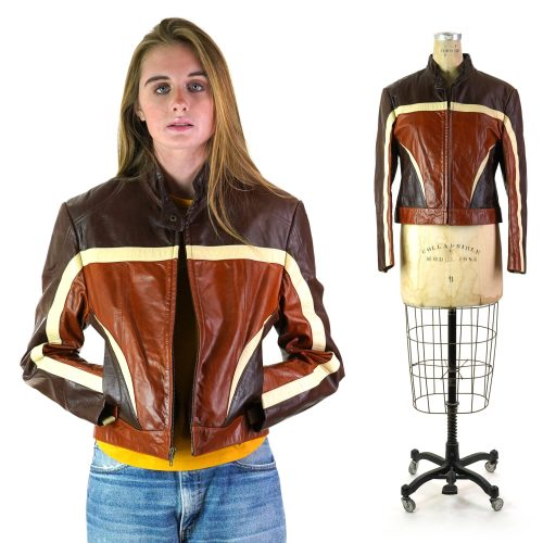 Vintage 90s Wilson's Patchwork Leather Motorcycle Jacket Women's Size Medium