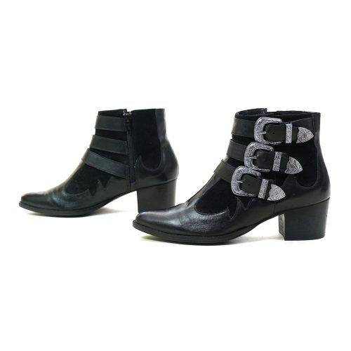 Black Leather Western Buckle Boots Women's Size 7