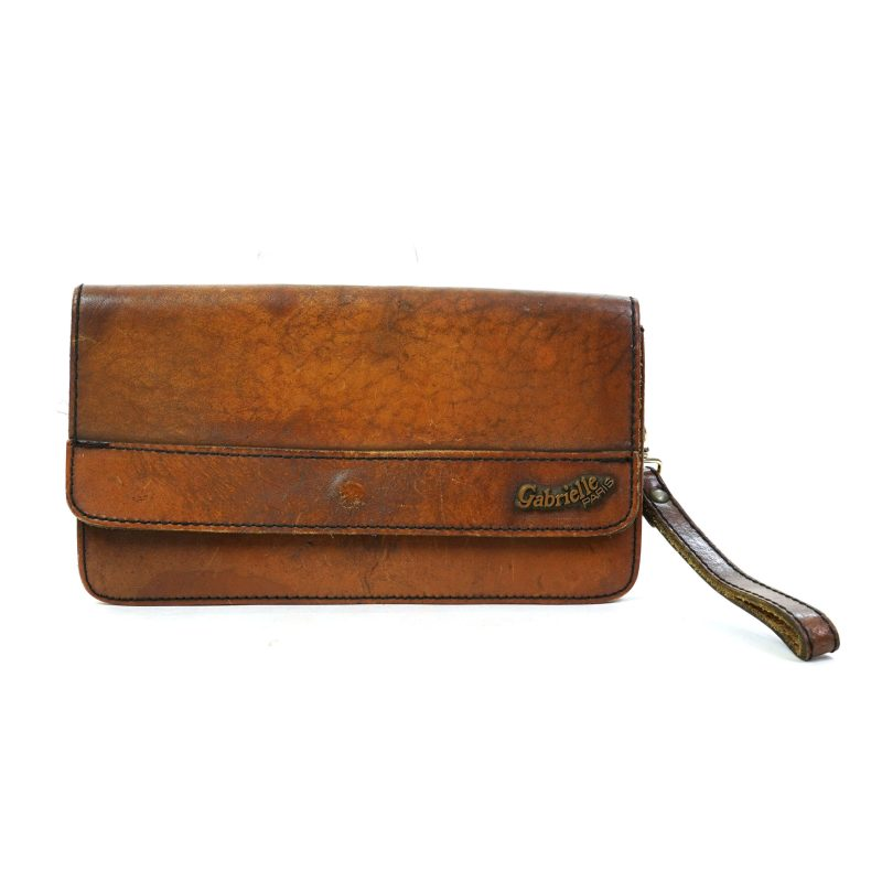 Vintage 70s Leather Clutch Bag by Gabrielle Paris