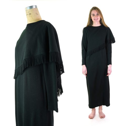 Vintage 80s Romanian Fringed Shawl Dress Women's Size Medium
