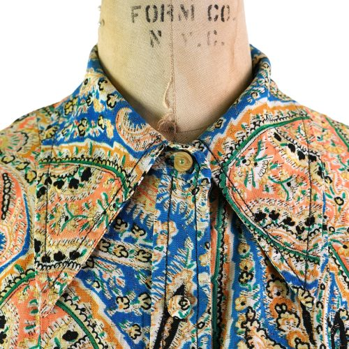 70s Pointy Collar Metallic Shirt Women's Size Medium