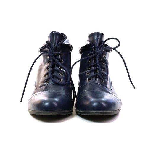 Blue Leather Lace Up Ankle Boots Vintage 90s
