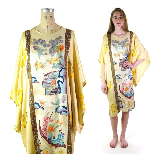 Painted Chinese Silk Tunic Dress Free Size Vintage 90s