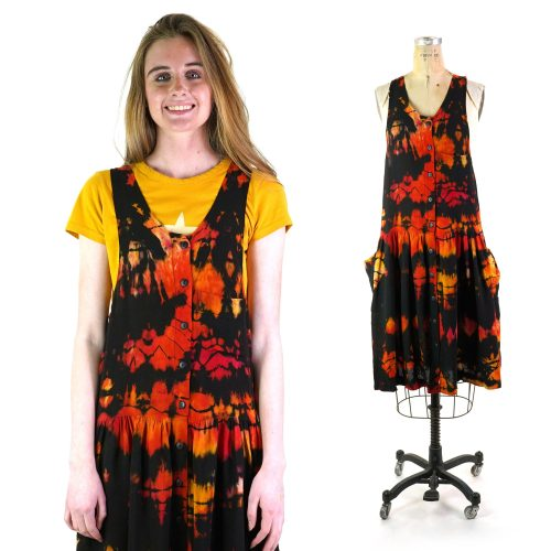 Tie Dye Rayon Babydoll Sundress by Contempo Casuals Vintage 90s
