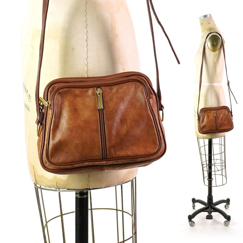 80s Distressed Leather Crossbody Bag