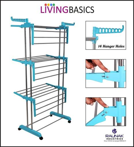 LivingBasics double pole cloth drying stand - Best Cloth Drying Stand