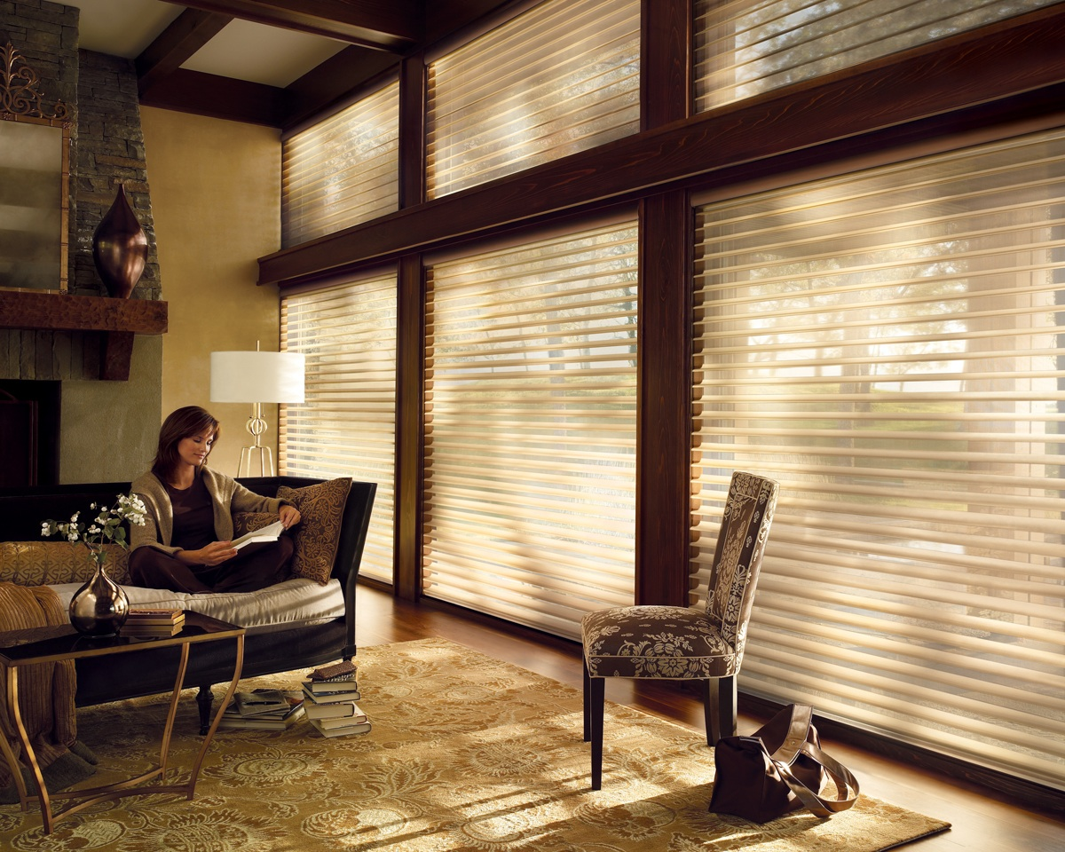 Photo of Semi-Translucent Power Rise Blinds For The Whole Window With Wooden Slats And Metal Fixtures
