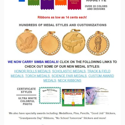 Award Ribbons Newsletter