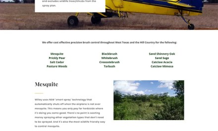 One Page Website for Willey Flying Service
