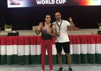 Ali Abu Al-Qassim coronó la medalla de plata de la Gimnasia Mundial en Hungría