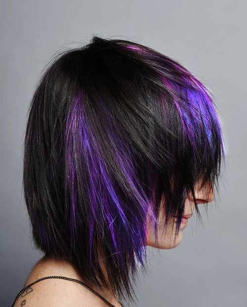 Purple Lighted Shag Hairstyle