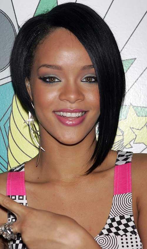 Rihanna Dark Asymmetric Bob Hairstyle