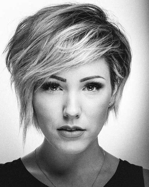 Rounded Face Shape Long Pixie Cut