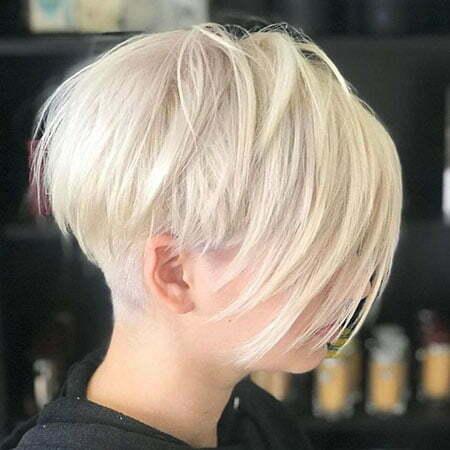 White Blonde Pixie Cut, Pixie Blonde Voluminous Stacked