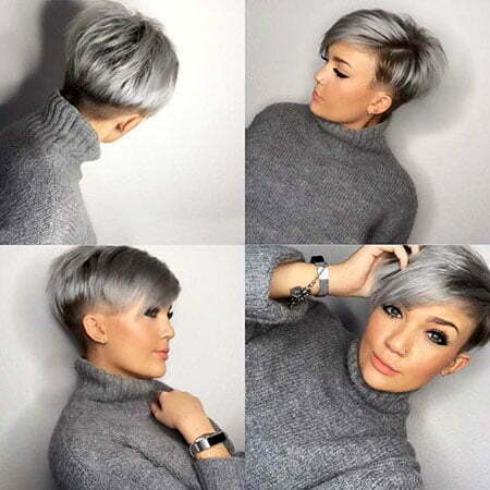 Grey Pixie, Hair Short Pixie Highlights
