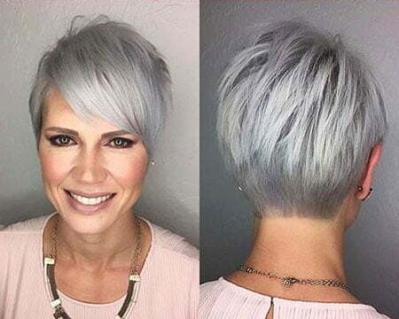 Straight Fine Hair, Pixie Grey Gray Tapered