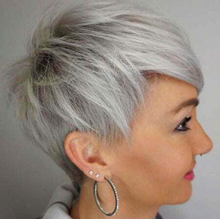 Pixie Undercut Gray Short
