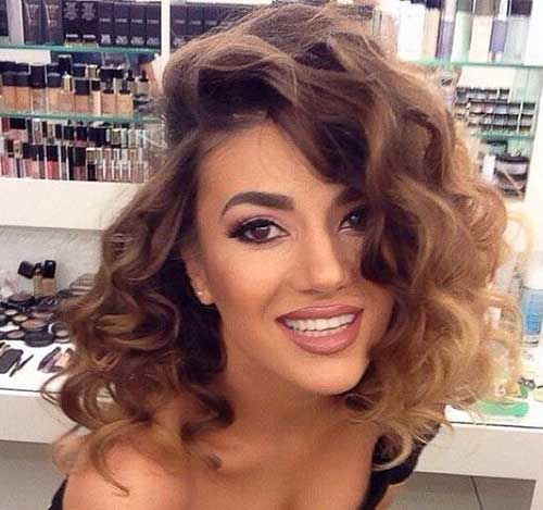 Curly Side Part Brown Ombre Hair Color Idea