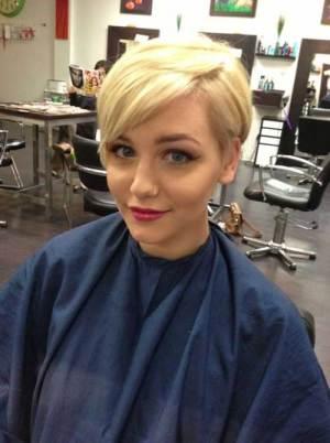 Cute Long Blonde Pixie Cut