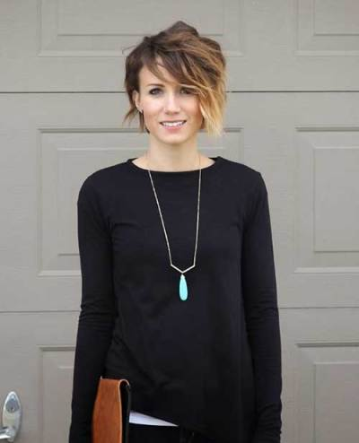 Ombre Colored Long Pixie