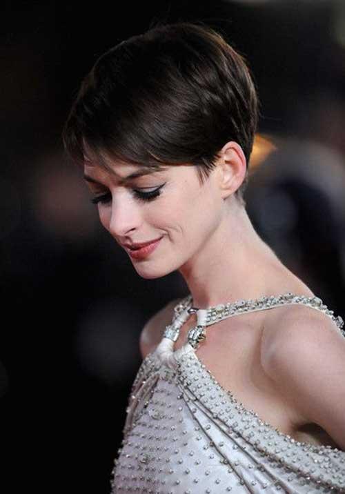 Anne Hathaway Dark Pixie Hair