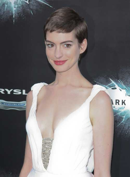 Anne Hathaway Straight Pixie Cut