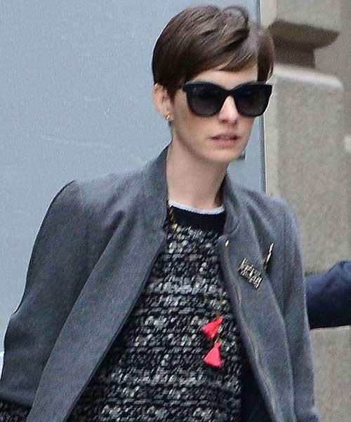 Anne Hathaway Thick Hair Pixie Cut