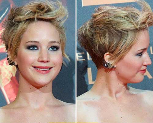Jennifer Lawrence Blonde Messy Pixie Cut