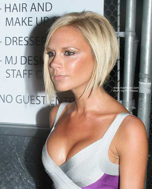 Victoria Beckham Fine Straight Blonde Bob Hair