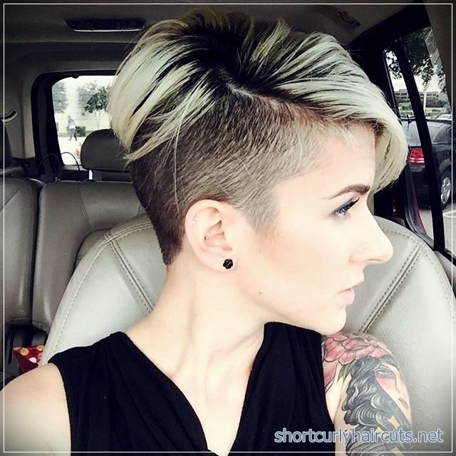 Pixie undercut with a shaved side haircut