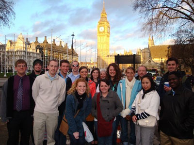 Students with Big Ben in the background
