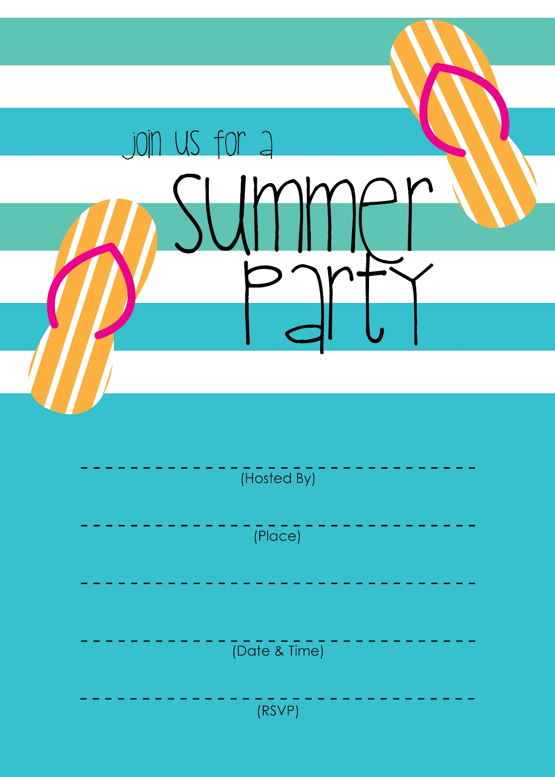 Summer party invitation free printable short stop designs for Pool party invitations template