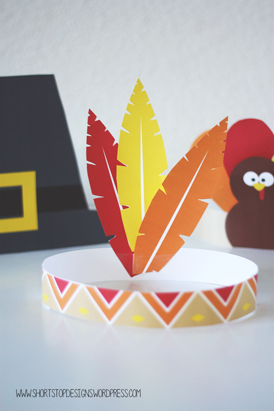 Thanksgiving kids hats free printables short stop designs indian hat color download here maxwellsz