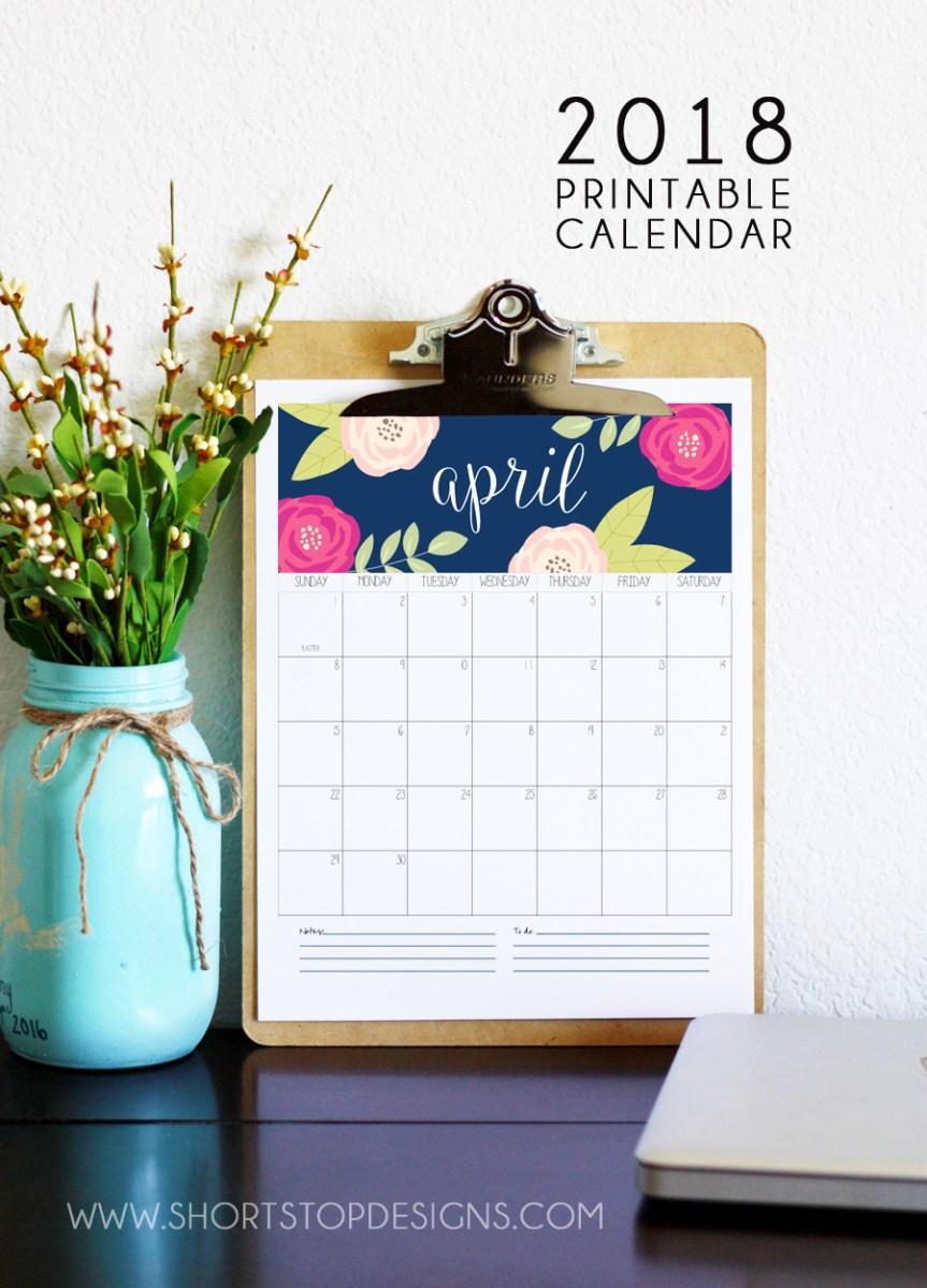 2018 Printable Calendar Short Stop Designs