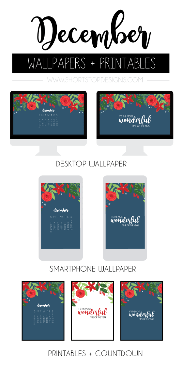 December Wallpaper + Printables