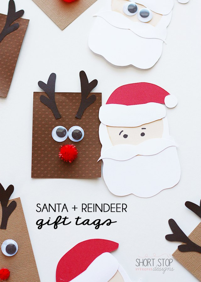 Santa and Reindeer Gift Tags Kids Crafts
