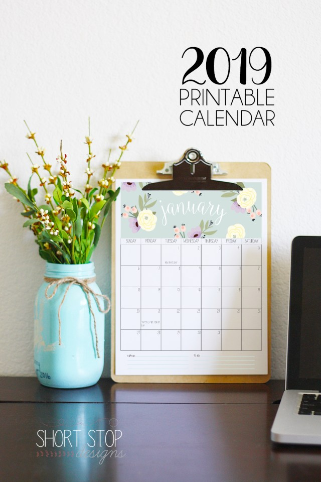 The Best 2019 Free Printable Calendar: Get Organized All Year (Part 1)
