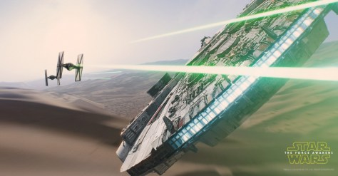 De Millenium Falcon in actie in Star Wars VII: The Force Awakens