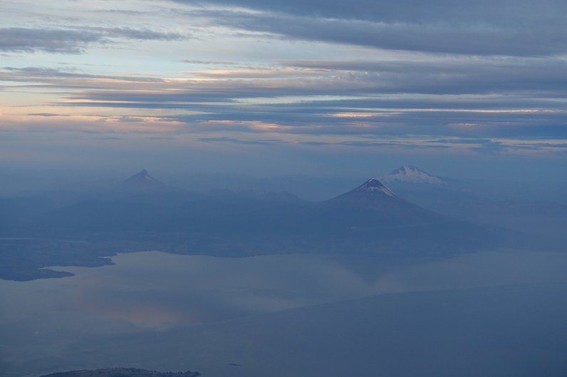 Aerial photo of Lago Llanquihue and Volcanoes
