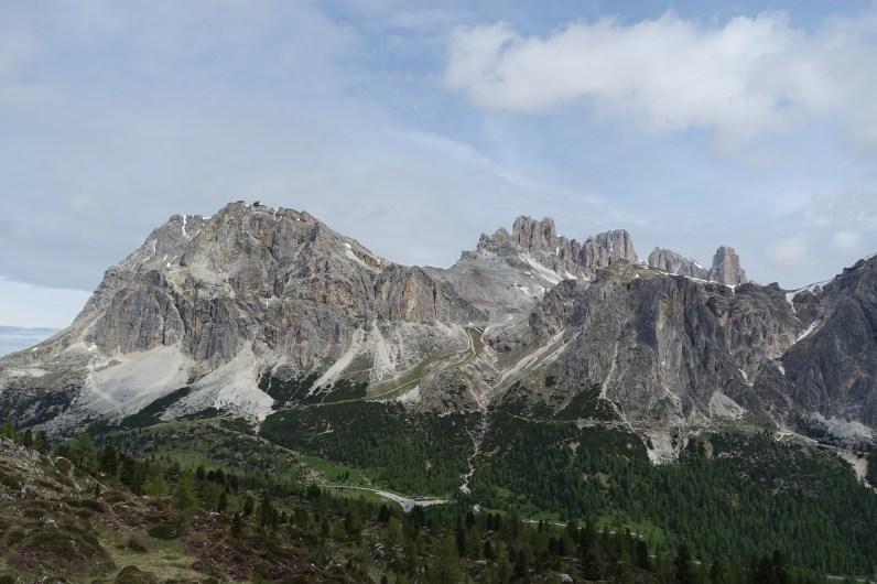 Looking down at Passo di Falzarego